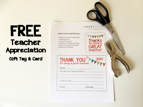 Teacher Thank you card and gift tag
