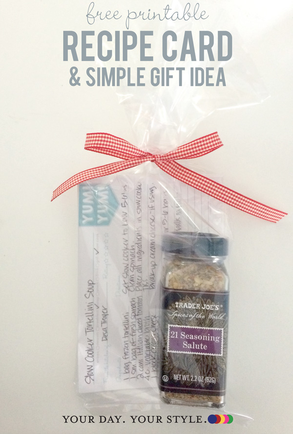 Quick gift for teacher and free recipe card