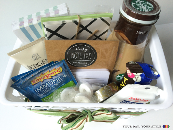 teacher gift - welcome back basket contents