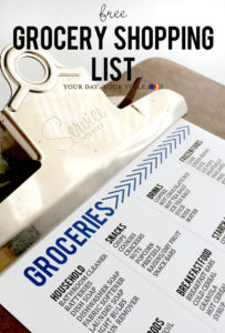 Free Grocery List Printable from Your Day. Your Style.com
