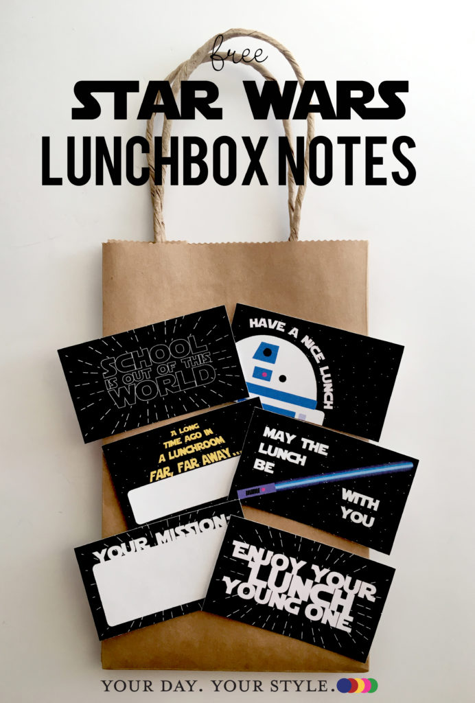 Free Star Wars style lunchbox notes