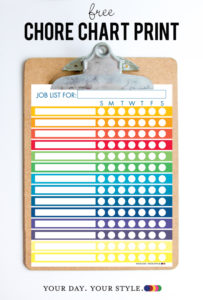 Free colorful weekly chore chart printable with 14 lines