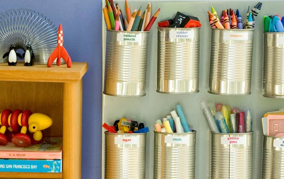 15 ways to organize with tin cans - art supplies