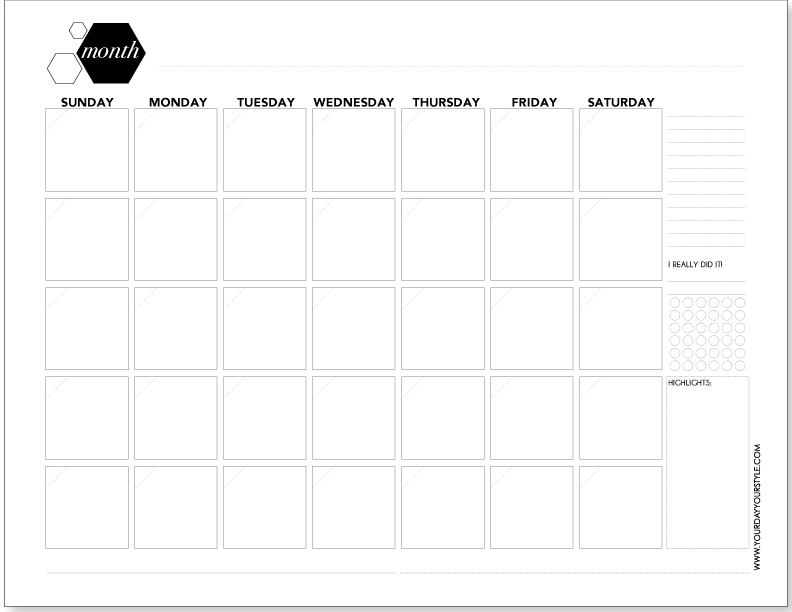 Free Weekly and Monthly Planner Page Printables with hexagon shape and modern font by Your Day. Your Style.com