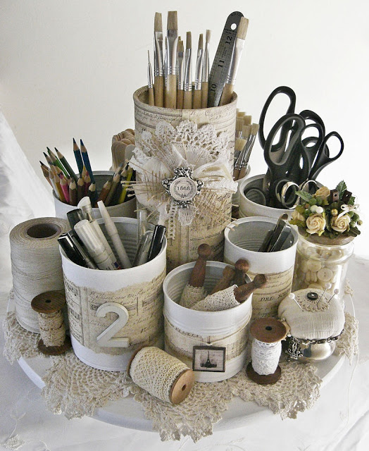 15 ways to organize with tin cans - vintage tool caddy