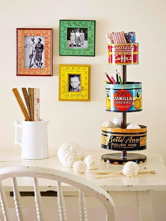 15 ways to organize with tin cans - tiered vintage tins for supply storage