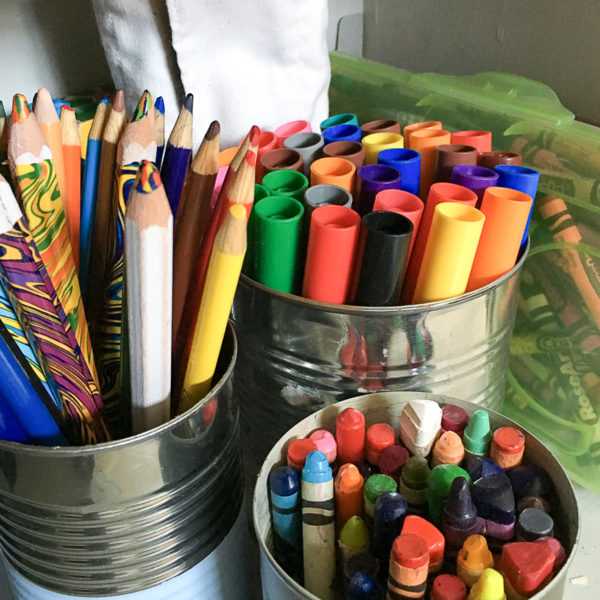 15 ways to organize with Tin Cans. 1- Kid Art Supply organizing by Your Day. Your Style.com