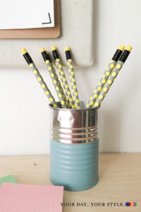 15 ways to organize with tin cans - pencil cup