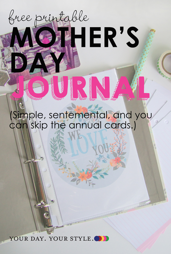 DIY Mother's Day Gift - make a journal to ad to annually for moms and grandmas