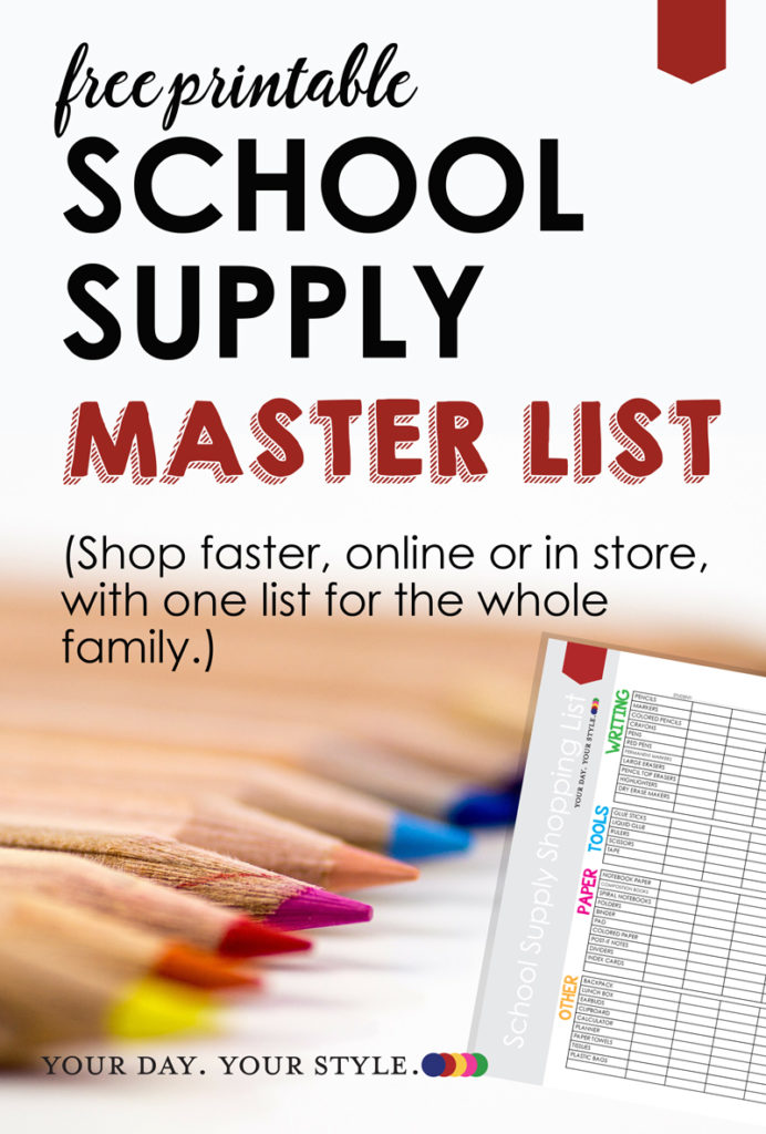 School Supply List for family