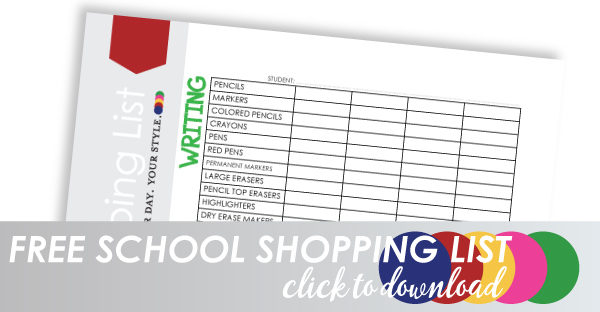 School Supply List free Printable
