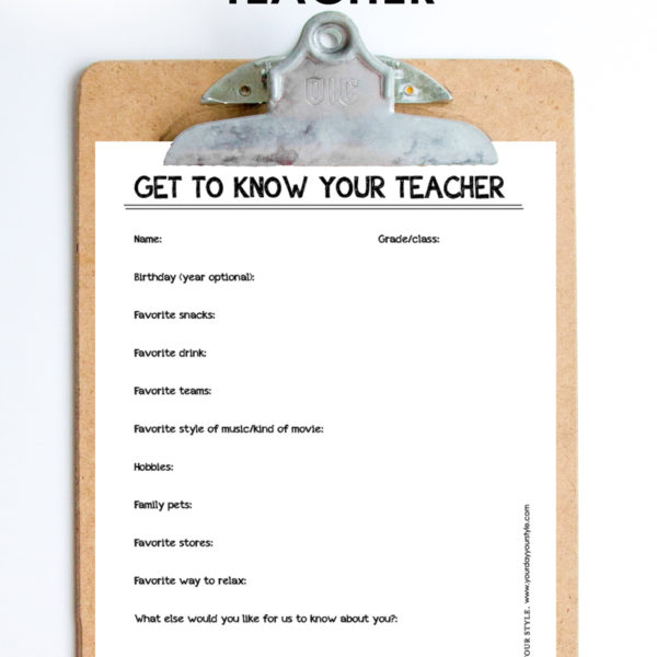 teacher appreciation idea - get to know your teacher printable