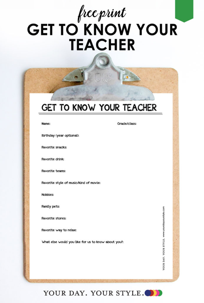 teacher appreciation ideas - get to know your teacher printable