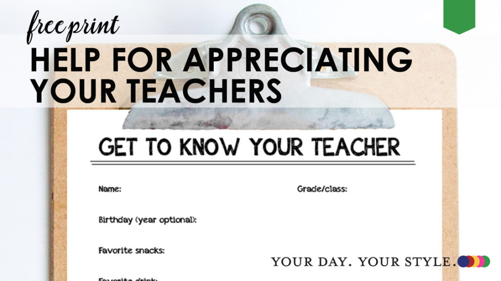 Get to Know your Teacher Printable Form