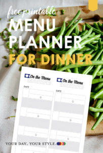What's for dinner printable menu for meal planning.
