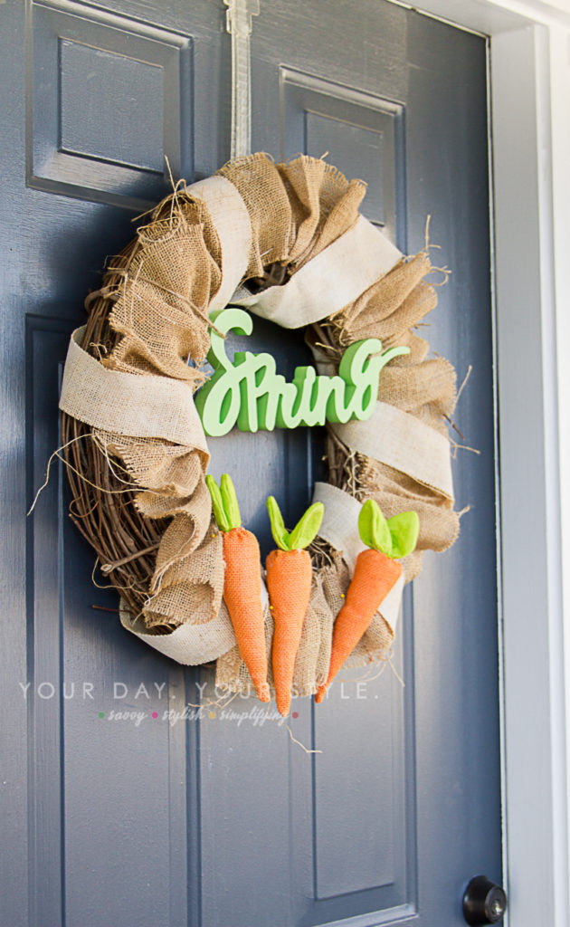 Burlap Spring Wreath from Your Day Your Style with Target Dollar Spot items.