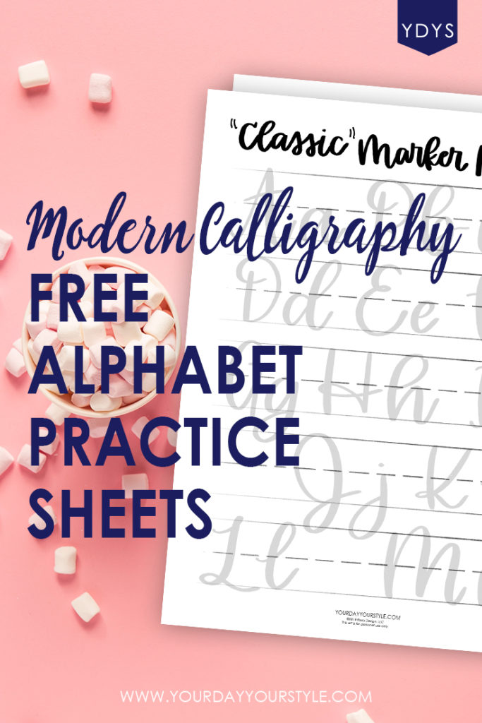 photo relating to Printable Calligraphy Practice Sheets identified as Printable Impressive Calligraphy Alphabet Prepare Sheets